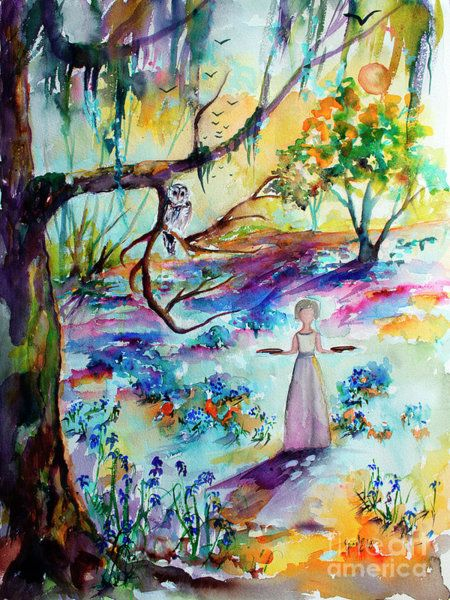 Painting Bluebells Forest And Savannah Bird Girl Watercolor
