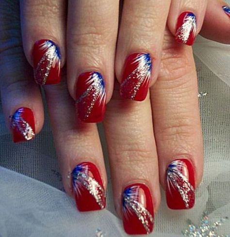 Red, White and Blue Fireworks Nails