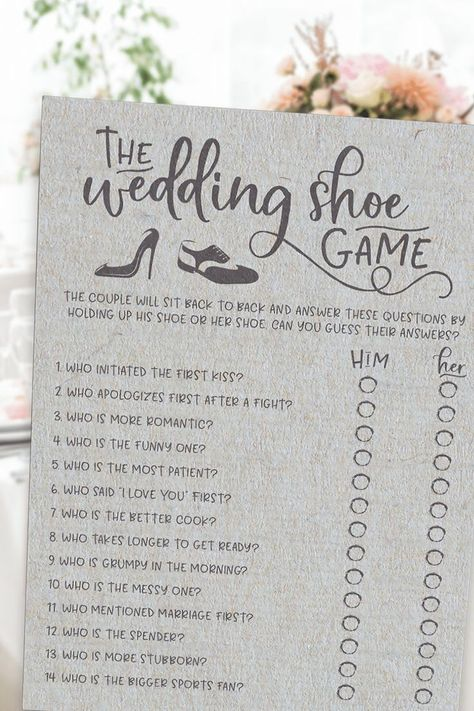 Grey Wedding Shoe Bridal Shower Game Play this fun Grey Wedding Shoe Bridal Shower Game at your bridal shower or wedding shower by placing two chairs back to back in the middle or front of the room. The bride will sit in one chair and groom will sit in the other..