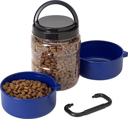 Gamma2 Travel Tainer Complete Pet Feeding System Blue Chewy Com Pet Food Container Dog Food Recipes Pets