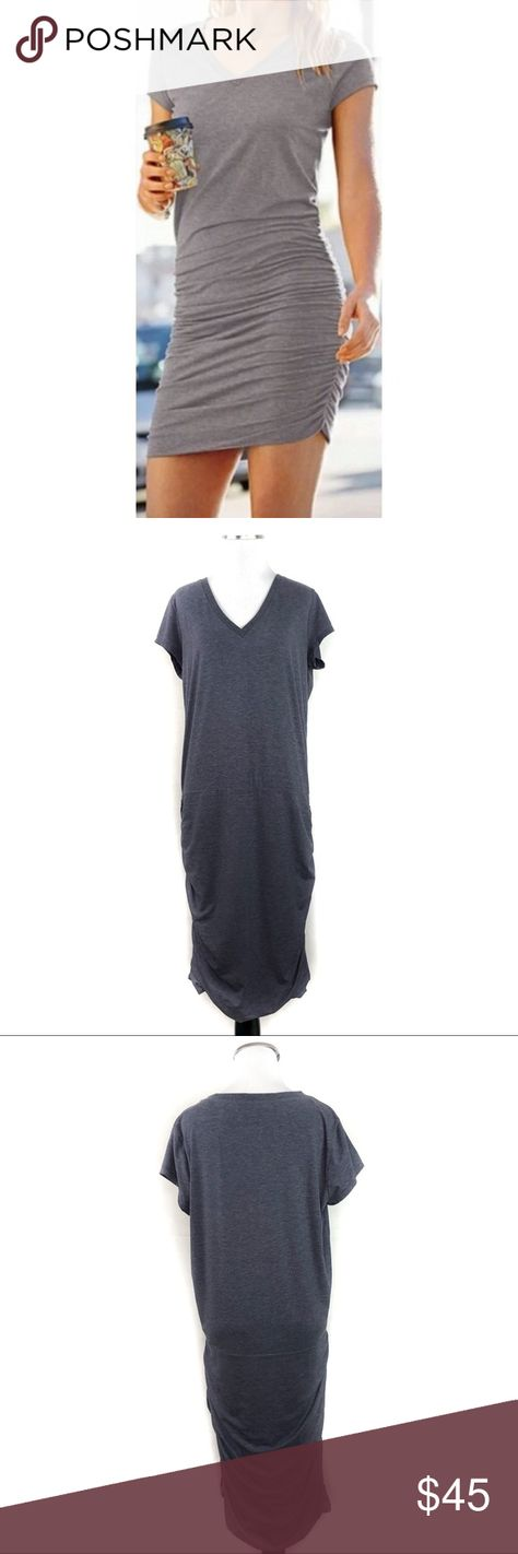 e3a58965205 Athleta Topanga Ruched T-Shirt Dress V-Neck Gray •Athleta Topanga Ruched T