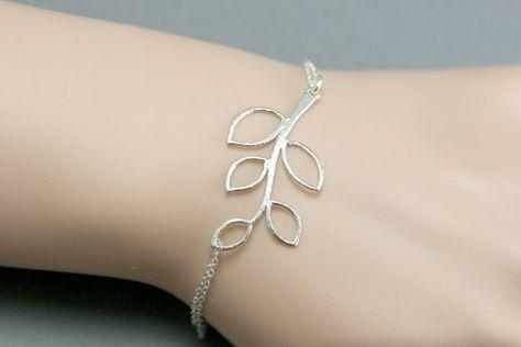 Sterling Silver Leaf Bracelet Simple Everyday by bellezamia