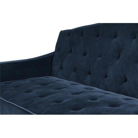 9 By Novogratz Vintage Tufted Sofa Sleeper Ii Multiple Colors Navy Velour Walmart Com Tufted Sofa Sleeper Sofa Vintage Sofa
