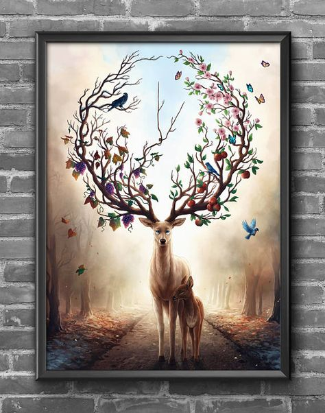 Seasons Change Signed Art Print Fantasy Deer Painting