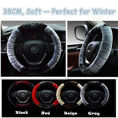 Set Black 38CM Soft Auto Steering Wheel Cover Fuzzy Wool Plush Car Winter Warmer