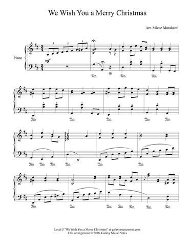 We Wish You A Merry Christmas Level 5 Piano Sheet Music With