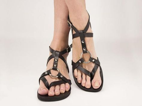Two color barefoot unisex sandals. T- strap, thong sandals with ankle strap. Leather sandals with possibility to tie with buckles or leather laces.