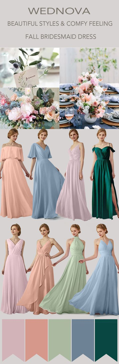 28c6df0bbd5 Fall amazing boho bridesmaid dress with sleeves dusty blue dresses color  60+ on sale