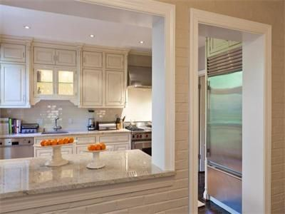 Skinny townhouse kitchen with pass-through to family room ...