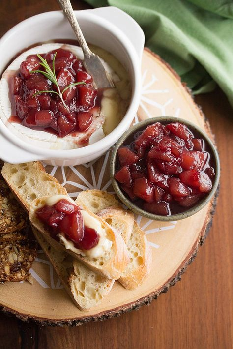 Baked Brie with Mulled Wine Poached Pear Compote | Crumb: A Food Blog