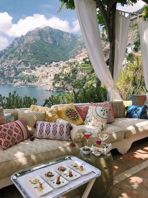 views from Salone / Bar Bianca at Villa Tre Ville Positano, the cover charge for visitors includes 1 cocktail + small bites // Italy travel photography + travel tips Positano Luxury Hotels, Beautiful Places To Travel, Travel Aesthetic, Oh The Places You'll Go, Dream Vacations, Santorini, Interior Design, Home Decor, Travel Plane