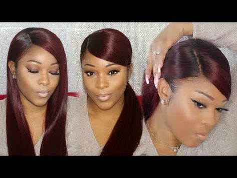 Weave Ponytail Tutorial Deep Side Part W Deep Swoop On A Wig Rpgshow Youtube Weave Ponytail Weave Ponytail Hairstyles Ponytail Tutorial