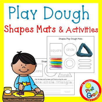 Pre Writing 2d Shapes Play Dough Mats With Activities Preschool Pre K And Kin In 2020 Pre Writing Preschool Activities Early Childhood Math