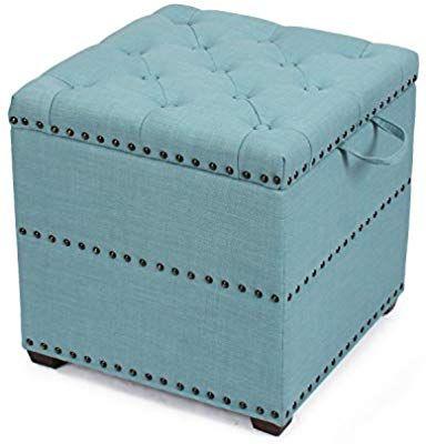 Edeco Modern Square Storage Ottoman Foot Stool Comfortable Seat