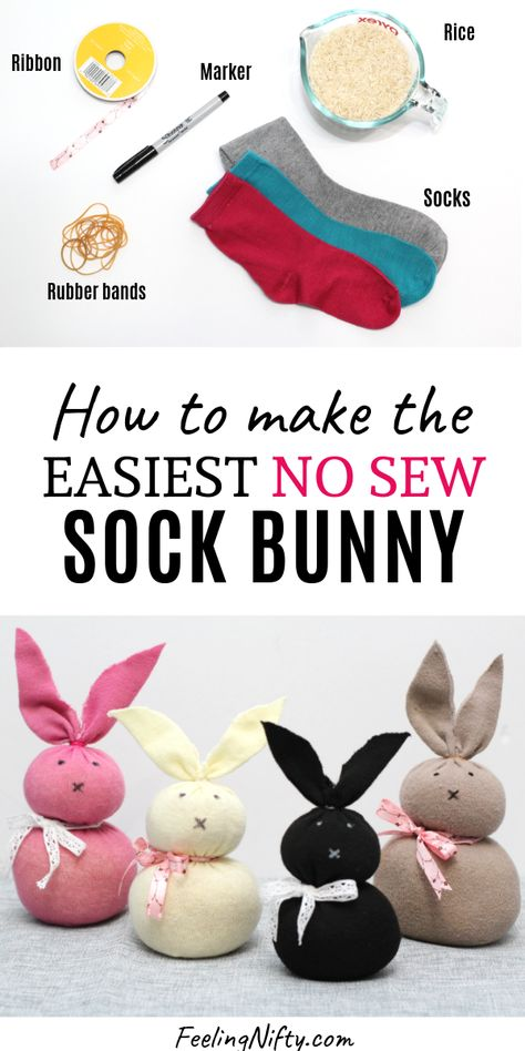 Easy DIY No Sew Sock Bunny perfect for Easter crafts or activity for kids. Use materials you already have at home. #easterBunny #eastercrafts #bunnyDecor #bunnyCraft #nosew #5minutecraft #EasterHomeDecor