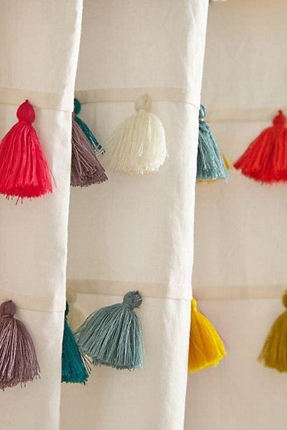 Lindi Fringe Shower Curtain tassel detail.