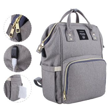 c42e6de1c4b3 Lequeen USB Interface Mummy Bag Backpack Large Capacity WaterProof ...