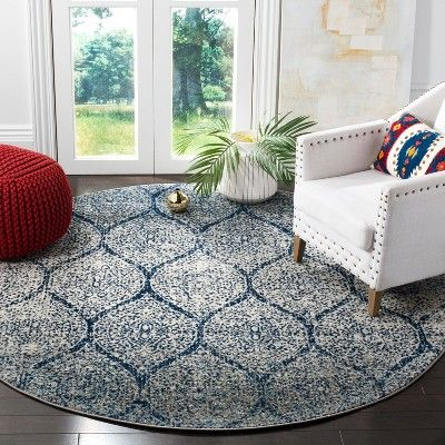 4 Shapes Loomed Round Area Rug Navy Silver Safavieh Adult