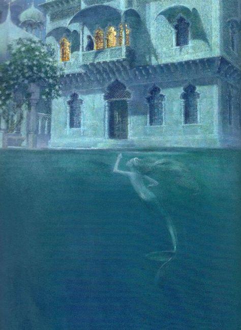 "One of Christian Birmingham's magical illustrations for ""The Little Mermaid"". Mermaid Illustration, Retro Illustration, Food Illustrations, Mermaid Lagoon, Mermaid Art, Mermaid Princess, Cosplay Steampunk, Lisbeth Zwerger, Water Nymphs"