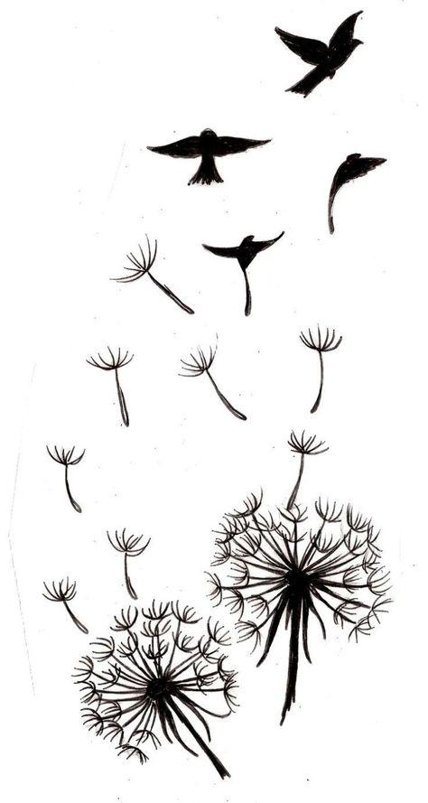 Dandelion with Bird Silhouettes Tattoo 3 by ~Metacharis on deviantART, birds in flight