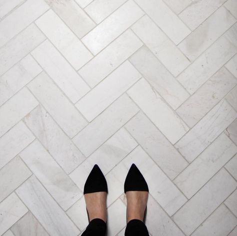 Marble herringbone floors in the master bath at the #poparkhouse