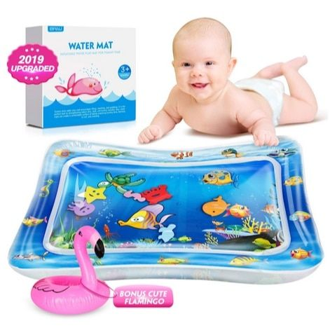QPAU Inflatable Tummy Time Water Play Mat Perfect Sensory Toys for for Infants