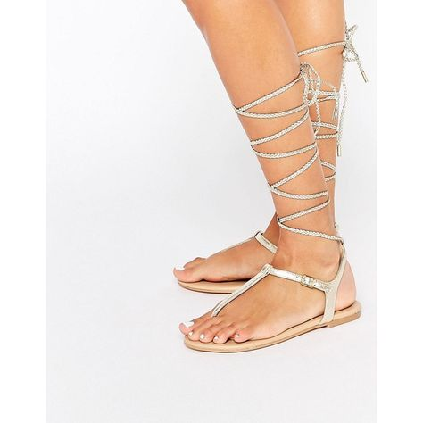 f64d2d6928c ALDO Peplow Gold Ghillie Tie Leather Flat Sandal ( 63) ❤ liked on Polyvore  featuring