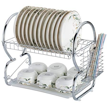 Dtemple 2 Tier Stainless Steel Dish Drying Rack Kitchen Cup Tray