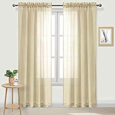 Dwcn Sheer Curtains Rod Pocket Bedroom Window Curtains Voile Sheer