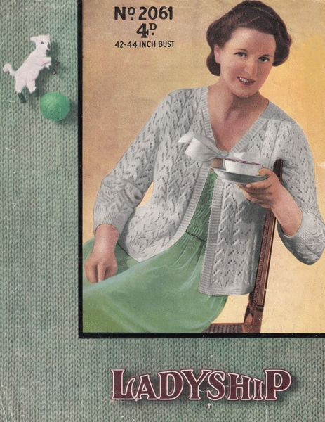 Vintage Ladies Bed Jacket Knitting Pattern From 1930s Vintage