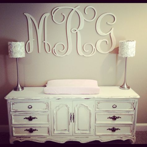 Millie's massive monogram! Tan and cream baby room nursery.