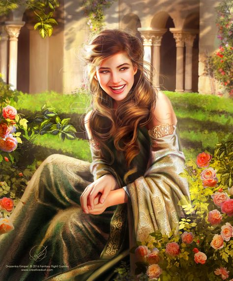 """Elinor Tyrell by Drazenka Kimpel from www.creativedust.com for Fantasy Flight Games """"""""Roses from lower on the bush,"""" quipped Elinor, who was witty and willowy. """" Artist's website:..."""