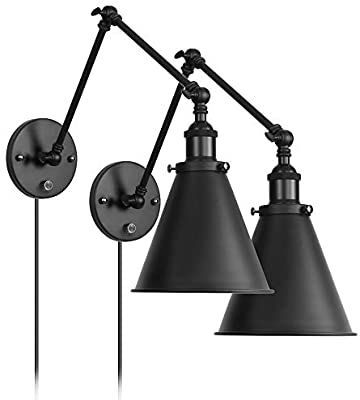 Industrial Wall Light Black Paint Finish Plug In Adjustable Arms With On Off Switch For Bedroom Wall Sconce Fixture Metal Plug In Wall Lamp 2 Lights Amazo