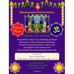 5 Format Of Satyanarayan Puja Invitation Card In Hindi And Review Invitation Card Maker Invitation Cards Invitations