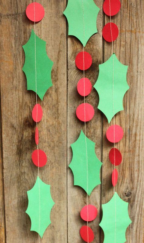 Holly Garland, Paper Garland, Christmas Decoration, Christmas Garland, Holiday Decorations, Holly Leaves, 10 feet long