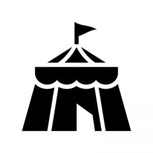 サーカスのテントの白黒シルエットイラスト シルエット イラスト