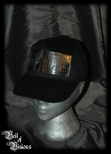 """Black baseball cap with """"METAL"""" embroidered onto mirror film. The ultimate metal cap! £8"""