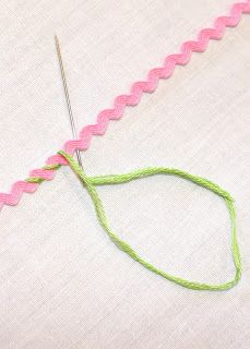 Floss Wrapped Rickrack This site shows many ways to attach trims/laces. I'm not crazy about rick rack, but this could actually be cute. Embroidery Applique, Cross Stitch Embroidery, Embroidery Patterns, Sewing Patterns, Smocking Patterns, Sewing Stitches, Crochet Patterns, Sewing Hacks, Sewing Tutorials
