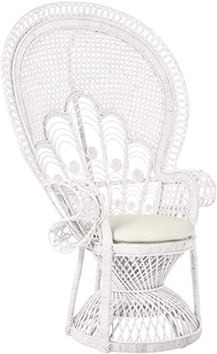 Best Seller Kouboo Lady Rattan Seat Cushion White Peacock Lounge