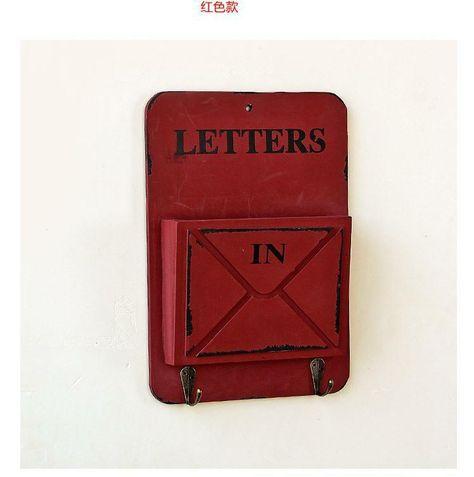 1PC Vintage Wooden Letter Box Hanging Organizer Holder Key Rack Postoral Style For Wall Storage Sundries Hook JL 081