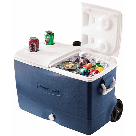 75 Quart Rubbermaid Blue Wheeled Cooler Outdoor Camping Picnic 5-Day Ice Chest