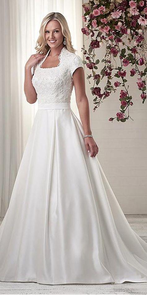 Abiti Da Cerimonia Queen.Modest Satin Queen Anne Neckline A Line Wedding Dresses With