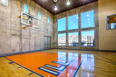 Phoenix Az Amazing Home In Arizona Features A Pro Basketball Court Secret Rooms And Tons O Home Basketball Court Indoor Basketball Court Indoor Basketball
