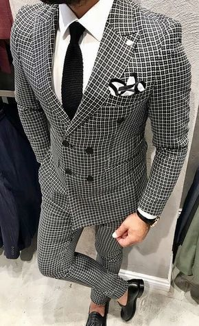 Men\u0027s black and grey double breasted check suit with white