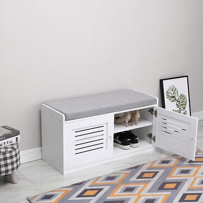 Compact Seat Shoe Storage Bench Rack Cabinet Entryway Hallway