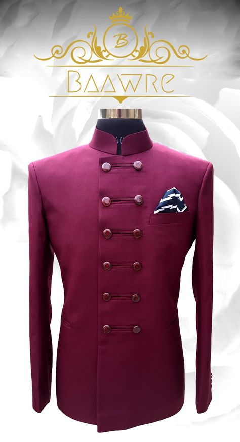 Maroon double button bandhgala jacket. Whatsapp on +919013201999 or mails us on info.baawre@gmail.com for more details.