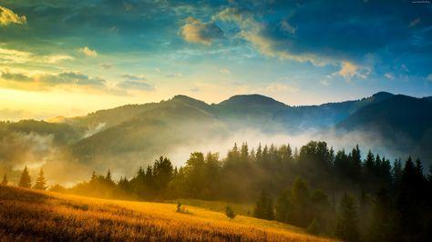 Góry Mgła Las Chmury Wschód Słońca Mountain Landscape