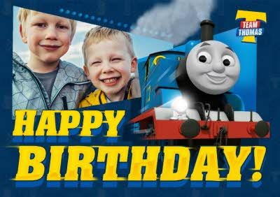 Thomas The Tank Engine Photo Birthday Card In 2021 Typography Design Tutorial Holiday Flyer Template Birthday Cards