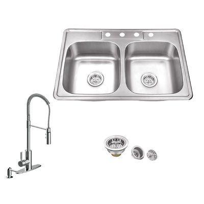 Soleil 33 L X 22 W Double Basin Drop In Kitchen Sink With Faucet In 2020 Double Bowl Kitchen Sink Sink Faucet