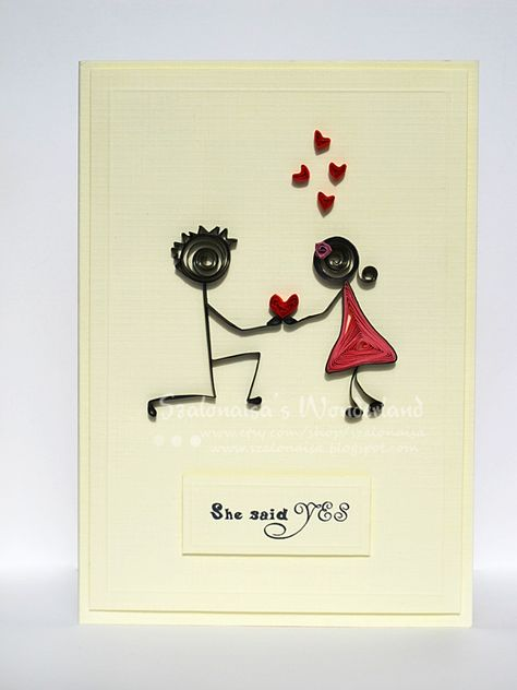 Quilled handmade cards - Szalonaisa's Wonderland: Quilling Engagement Card